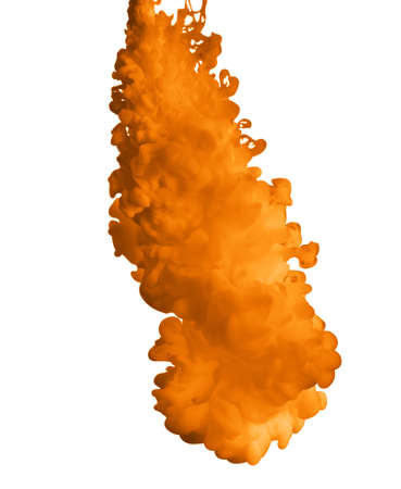 Splash of orange ink on white background