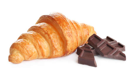 Tasty croissant with chocolate on white background. French pastry 스톡 콘텐츠