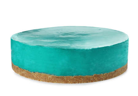 Delicious homemade spirulina cheesecake isolated on white Stock Photo