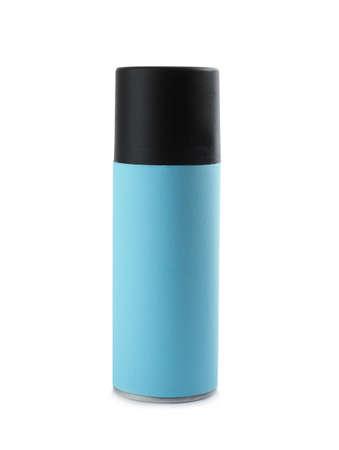 Closed bottle of spray deodorant on white background