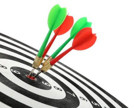 Arrows hitting target on dart board against white background Banco de Imagens - 128777517