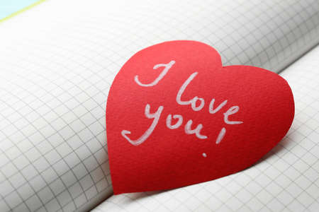Paper heart with words I LOVE YOU on open notebook, closeup