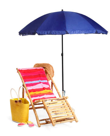 Wooden sunbed with beach accessories on white background
