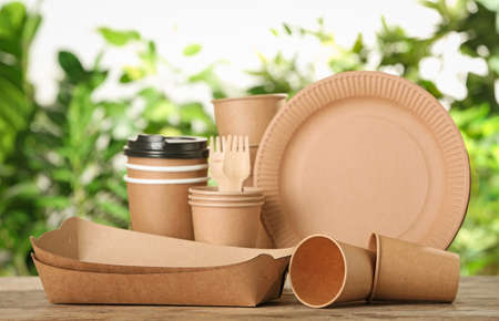 New paper dishware on wooden table against blurred background. Eco life