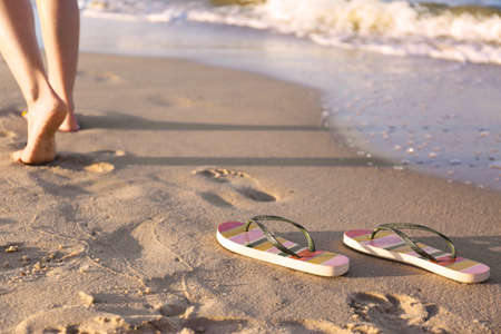 Closeup of woman and flip flops on sand near sea, space for text. Beach accessories