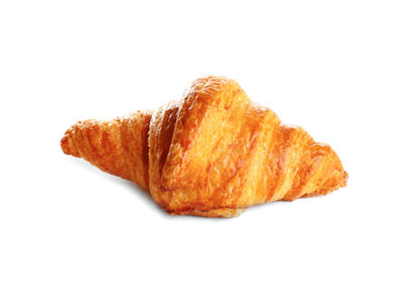 Fresh tasty croissant on white background. French pastry