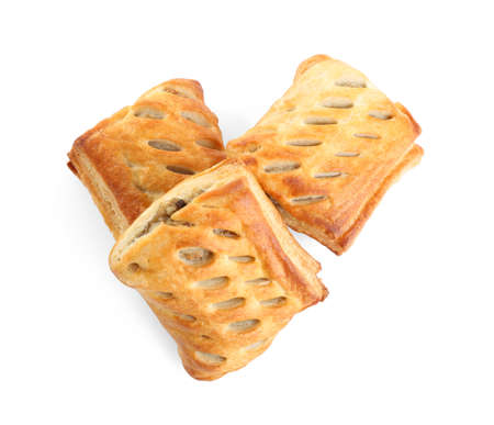 Fresh tasty puff pastry on white background, top view Stock Photo