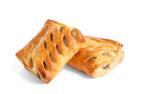 Fresh tasty puff pastry on white background Stock Photo
