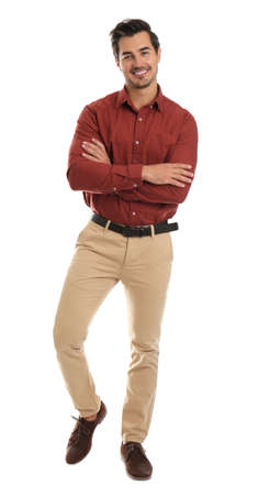 Full length portrait of young man on white background Stock Photo