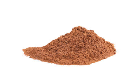 Pile of chocolate protein powder isolated on white Фото со стока