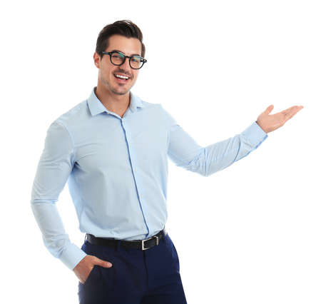 Young male teacher with glasses on white background