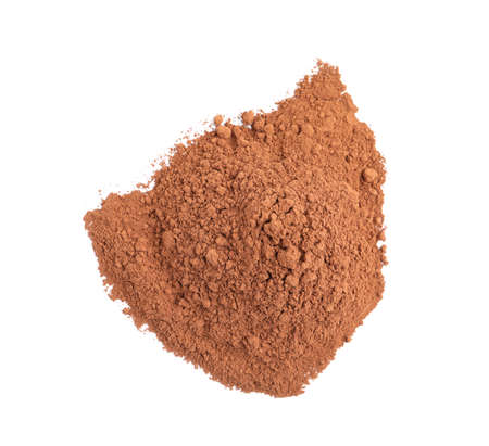 Pile of chocolate protein powder isolated on white, top view