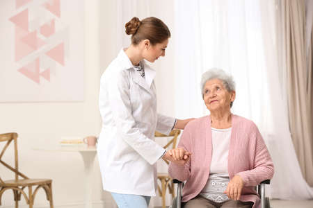 Nurse assisting elderly woman in wheelchair indoors Stok Fotoğraf
