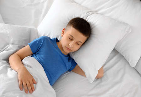 Portrait of cute boy sleeping in large bed, above view
