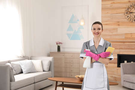 Portrait of young chambermaid with cleaning supplies in hotel room. Space for text