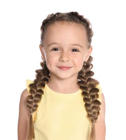 Portrait of cute little girl on white background 免版税图像