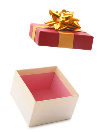 Open empty gift box with bow on white background