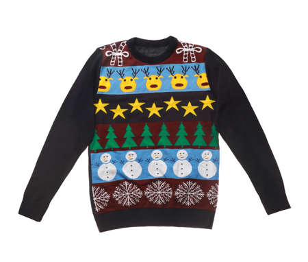 Warm Christmas sweater on white background, top view
