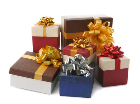 Beautiful gift boxes with bows on white background Stock Photo