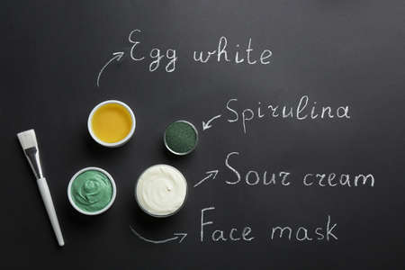 Spirulina facial mask and ingredients with written names on black background, flat lay