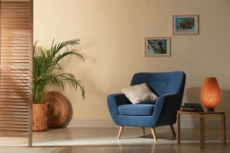 Stylish room interior with comfortable furniture and plant near beige wall 写真素材 - 128831059