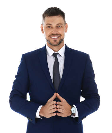 Professional business trainer posing on white background