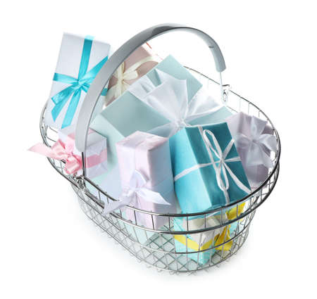 Shopping basket full of gift boxes on white background Stock Photo