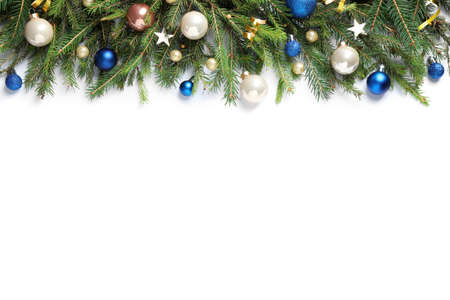 Fir branches with Christmas decorations on white background, flat lay Stockfoto