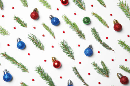 Composition with Christmas decor on white background, top view Imagens