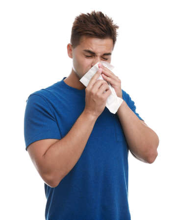 Young man suffering from allergy on white background 스톡 콘텐츠 - 129023719