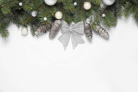 Christmas decoration on white background, top view. Space for text