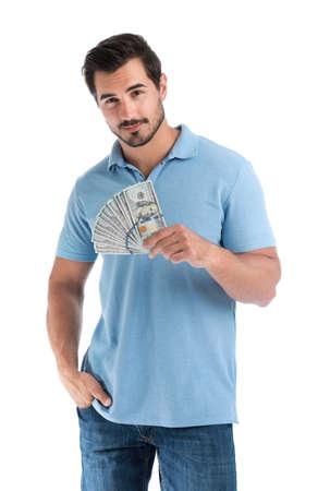 Hübscher junger Mann mit Dollar auf weißem Hintergrund Standard-Bild