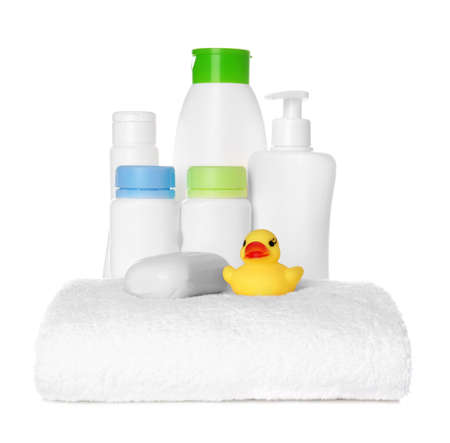 Set of baby accessories on white background