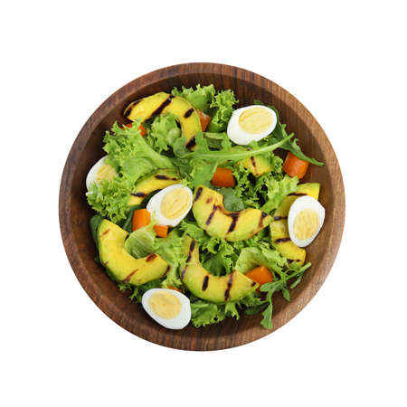 Delicious avocado salad with boiled eggs in bowl on white background, top view