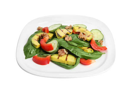 Delicious avocado salad with basil on white background Banco de Imagens