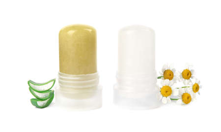 Natural crystal alum stick deodorants with chamomiles and aloe on white background Standard-Bild