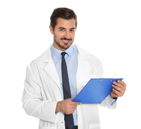 Young male doctor with clipboard on white background. Medical service Stok Fotoğraf