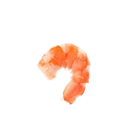 Delicious cooked peeled shrimp on white background