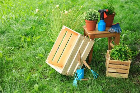 Composición con herramientas de jardinería sobre hierba verde