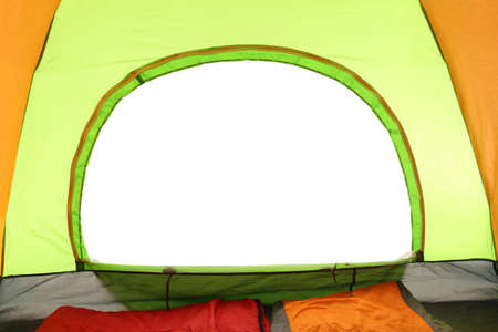 Camping tent on white background, view from inside