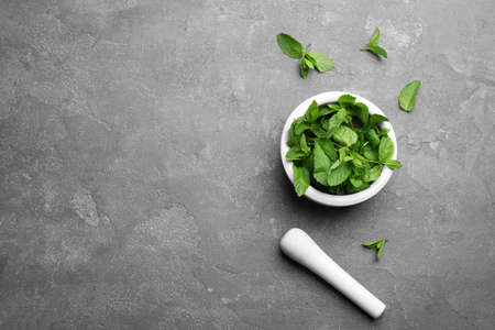 Fresh mint with mortar and pestle on grey background, flat lay. Space for text