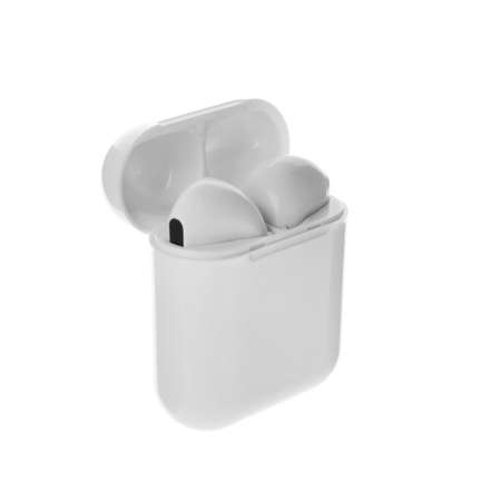 Modern wireless earphones in charging case on white background