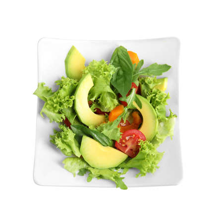 Delicious avocado salad in bowl on white background, top view