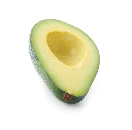 Half of ripe avocado on white background