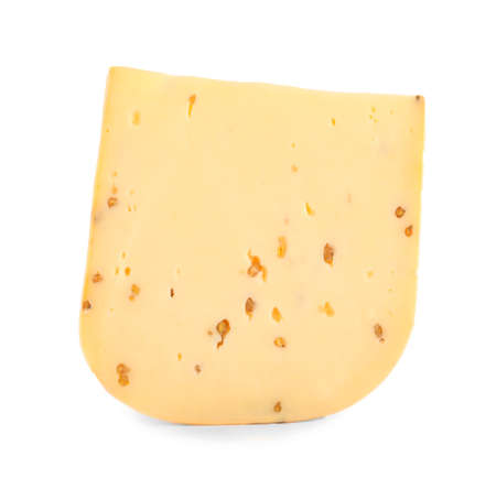 Piece of tasty cheese with fenugreek isolated on white Stockfoto