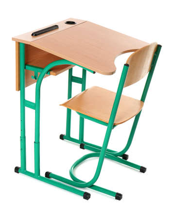 Empty school wooden desk for classroom on white background