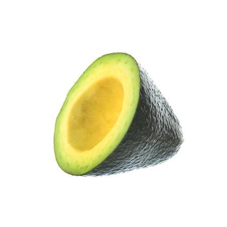 Slice of ripe avocado on white background