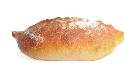 Loaf of fresh bread on white background Stockfoto