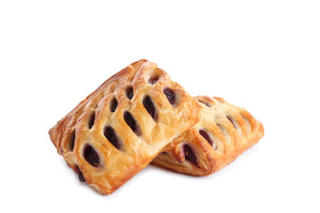 Fresh tasty puff pastry on white background Reklamní fotografie