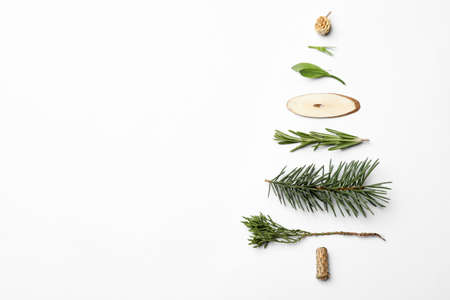 Christmas tree made of natural materials on white background, top view Banco de Imagens